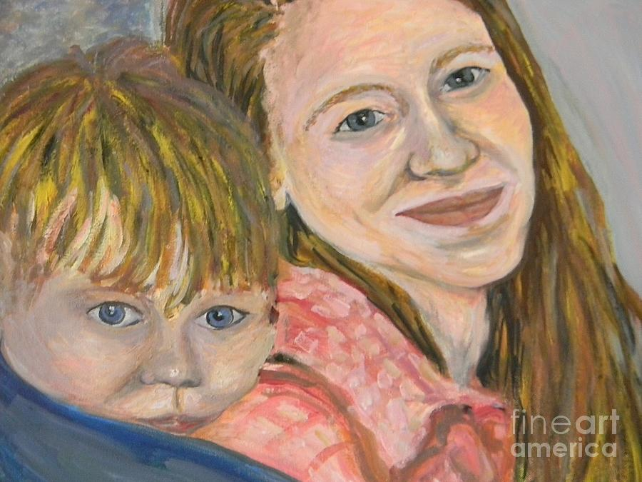 Mama Painting - Me And My Boy Detail by Emily Michaud