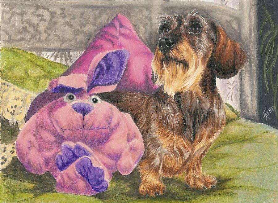 Dog Drawing - Me and My Bunny by Barbara Keith