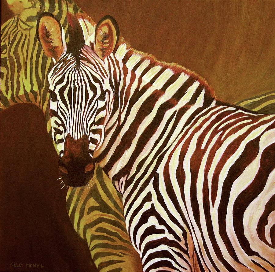 Zebra Painting - Me And My Friend by Kelly McNeil