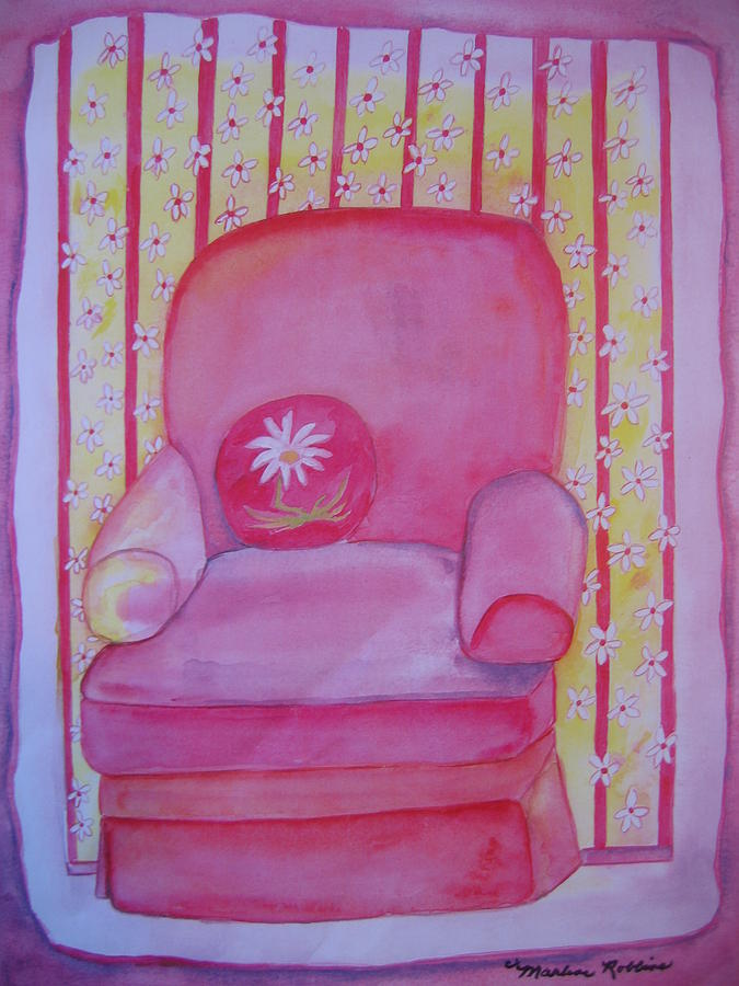 Chair Painting - Me and the Daisies by Marlene Robbins