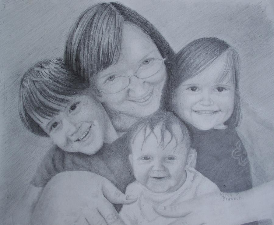 Grandma Drawing - Me And The Grands by Karen Brannon