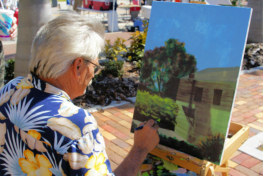 Plein Air Painting Photograph - Me At Work Painting The Building With My Studio In It by Charles Peck