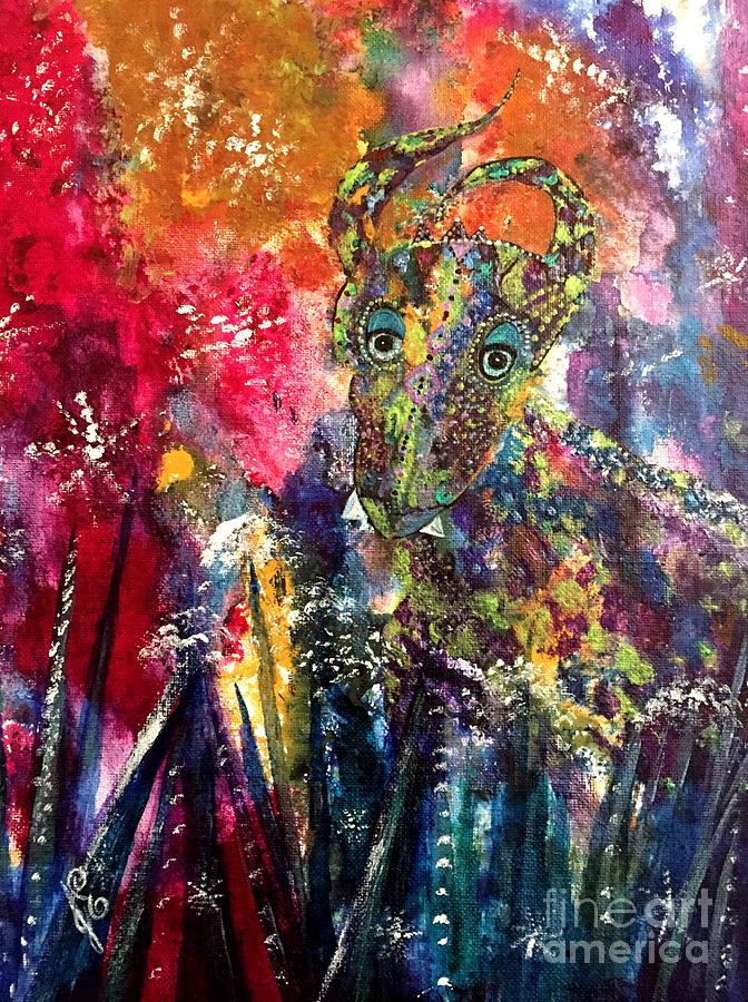 Dragon Painting - Meadow Dragon by Julie Engelhardt