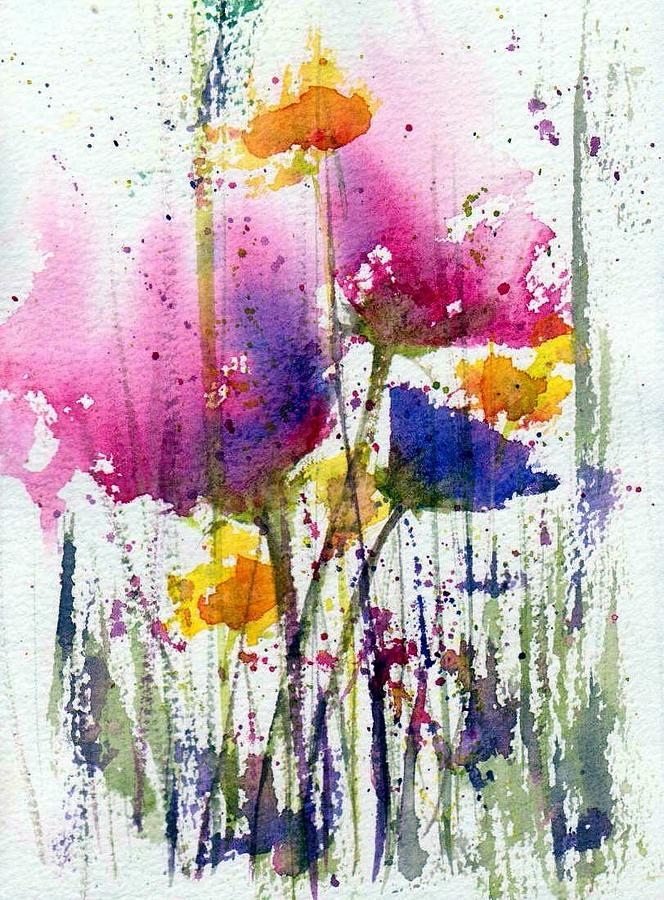 Watercolor Painting - Meadow Medley by Anne Duke
