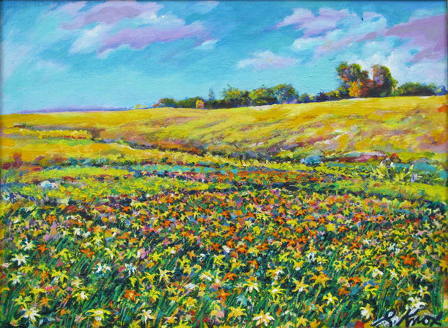 Field Painting - Meadow Of The Quilted Lilies by Richard Knox