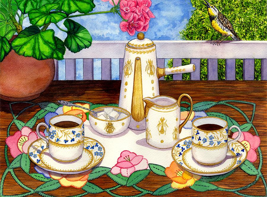 Coffee Painting - Meadowlark by Catherine G McElroy