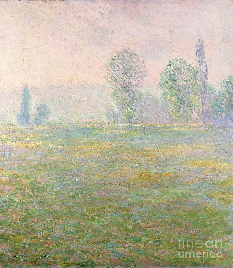 Farm Painting - Meadows In Giverny by Claude Monet