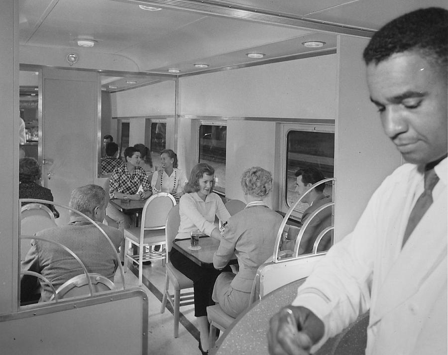 Passengers Photograph - Passengers Mingle on Train - 1958 by Chicago and North Western Historical Society