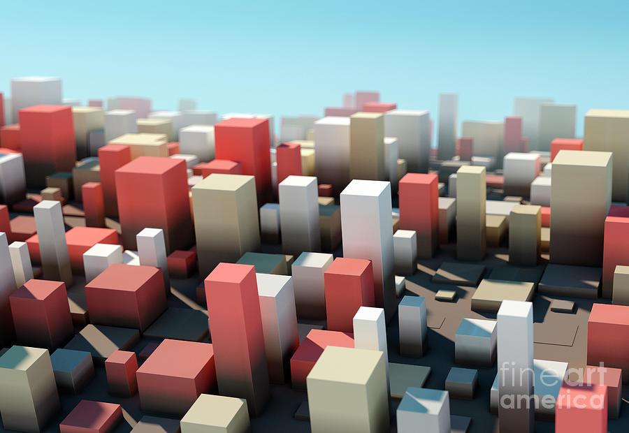 Design Digital Art - Mechanic Square Variation Pattern Abstract 3D Cityscape DOF by Frank Ramspott