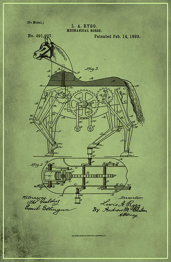 Patent Mixed Media - Mechanical Horse Patent Art 1p by Brian Reaves