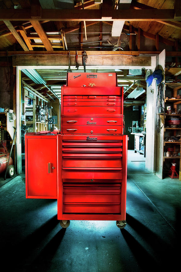 Box Photograph - Mechanics Toolbox Cabinet Stack In Garage Shop by YoPedro