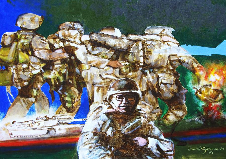 Med Evac Battle For Fallujah Iraq Painting by Howard Stroman