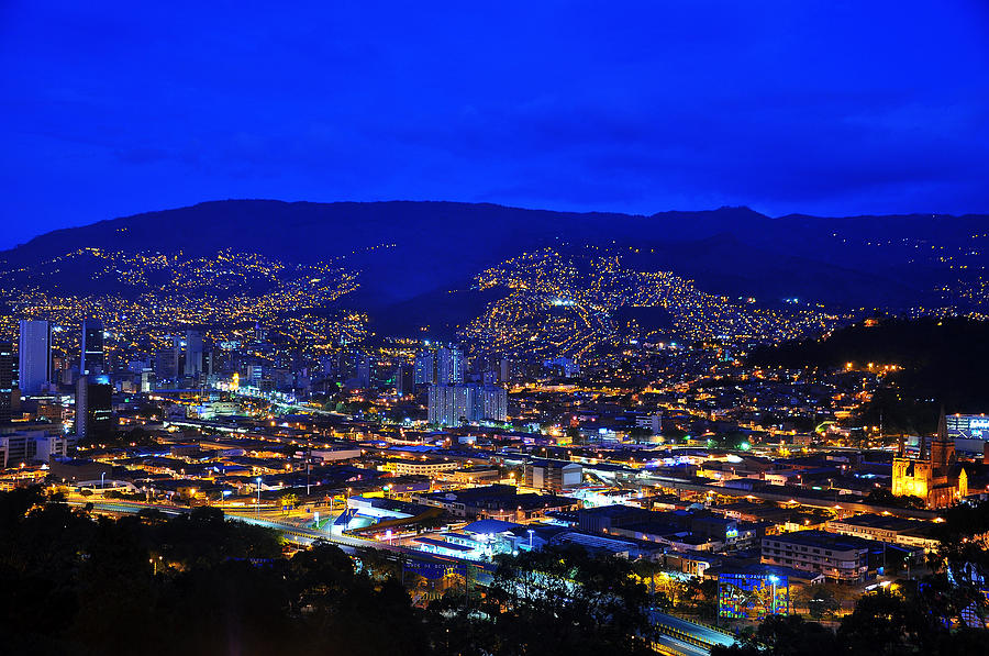 Blue Photograph - Medellin Colombia At Night by Jess Kraft