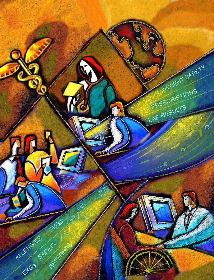 Medicare And Information Technology Painting By Leon Zernitsky