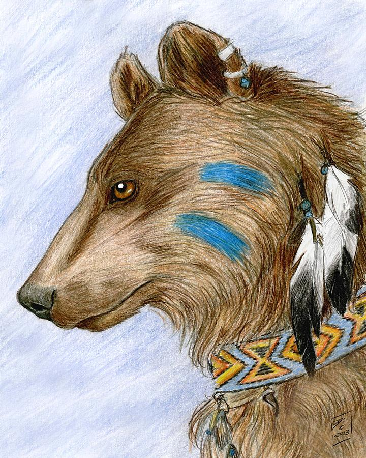 Native American Drawing - Medicine Bear by Brandy Woods