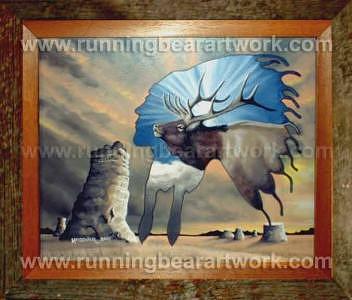 Barnwood Frame Painting - Medicine Elk by Michael Meissner