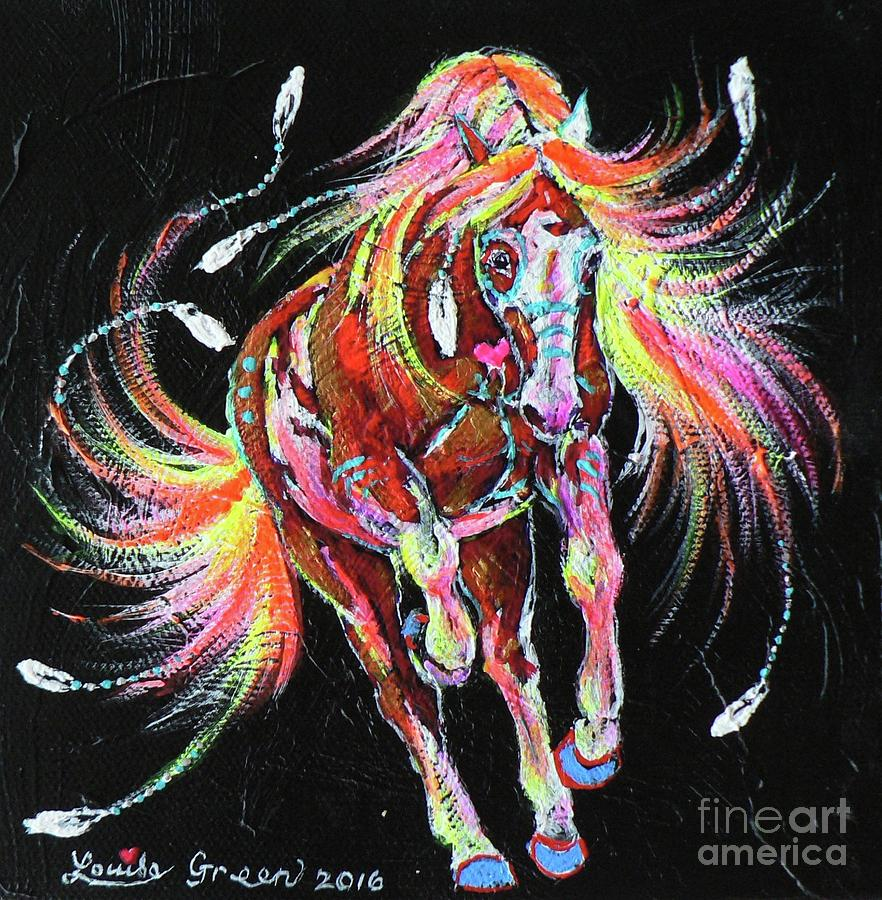 Paint Pony Painting - Medicine Fire Pony by Louise Green