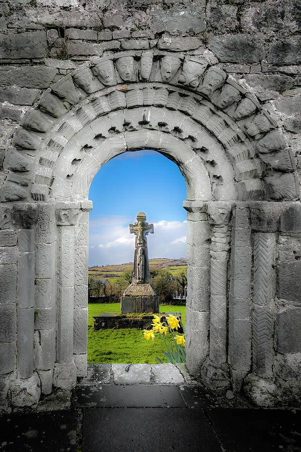 Dysert O Dea Photograph - Medieval Arch And High Cross, County Clare, Ireland by James Truett