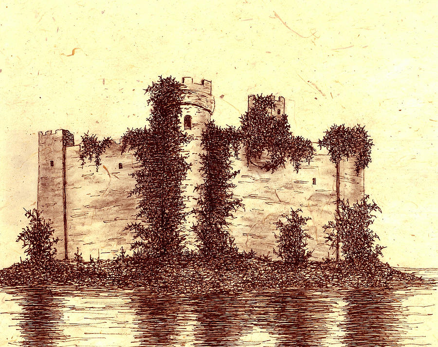 Castle Drawing - Medieval Castle by Michael Vigliotti