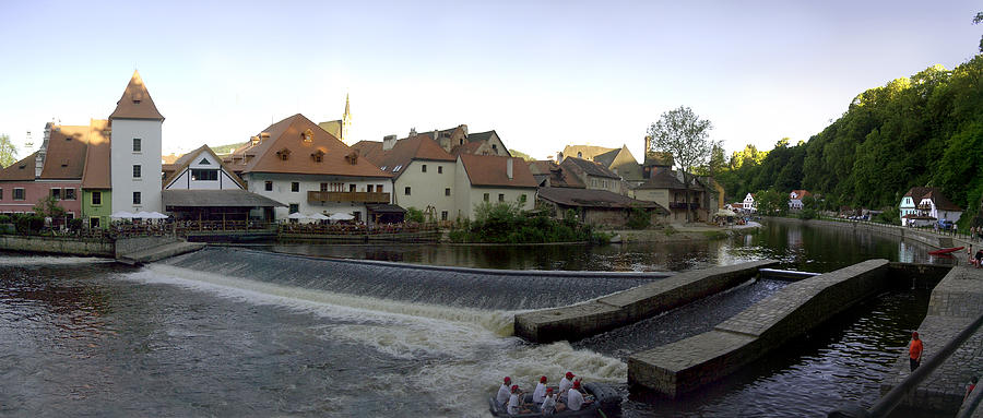 Czech Photograph - Medieval Czech Republic Town and River by Jeff Schomay