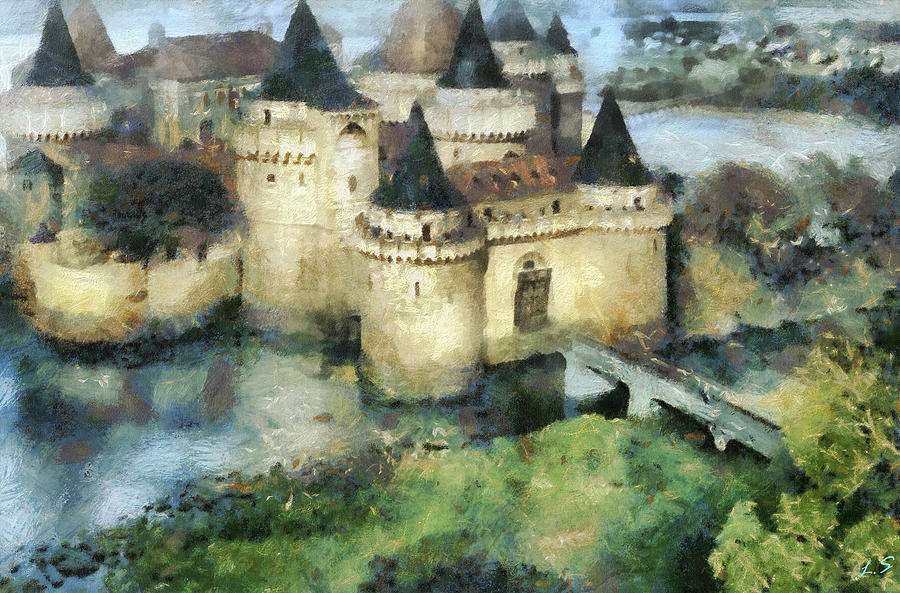 Tournaments Painting - Medieval knights castle by Sergey Lukashin