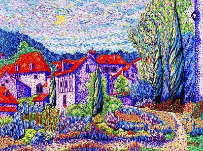 Landscape Painting - Medieval Village 2 by Max R Scharf
