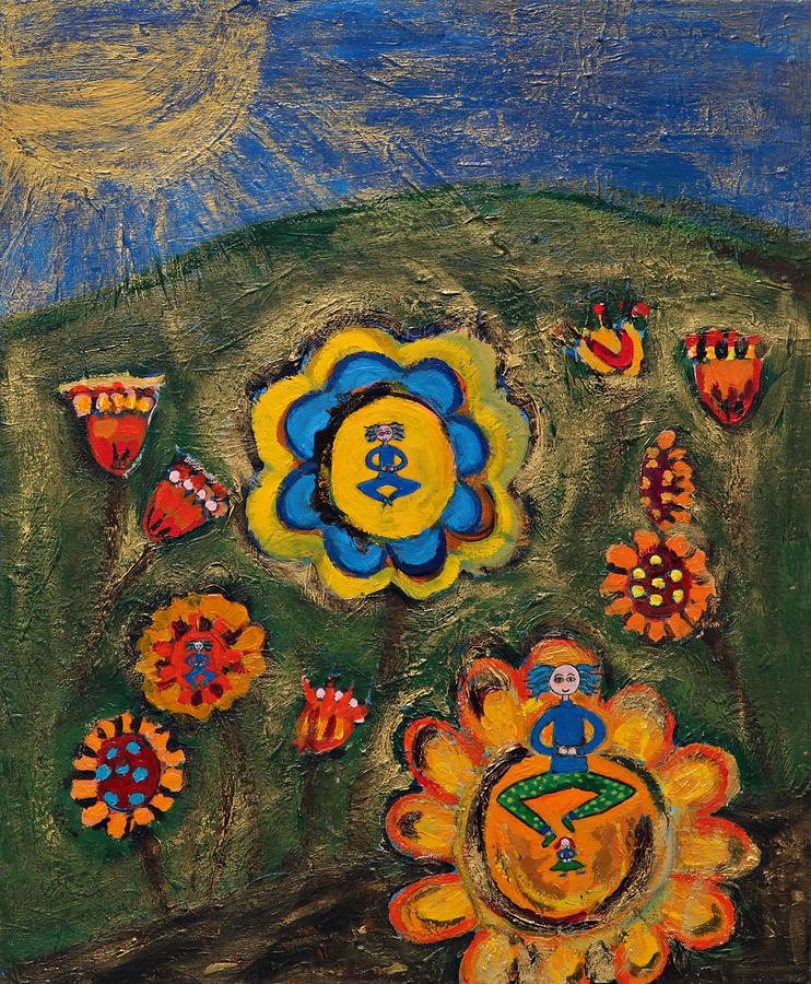 Flowers Painting - Meditating Master In Divine Garden by Maggis Art