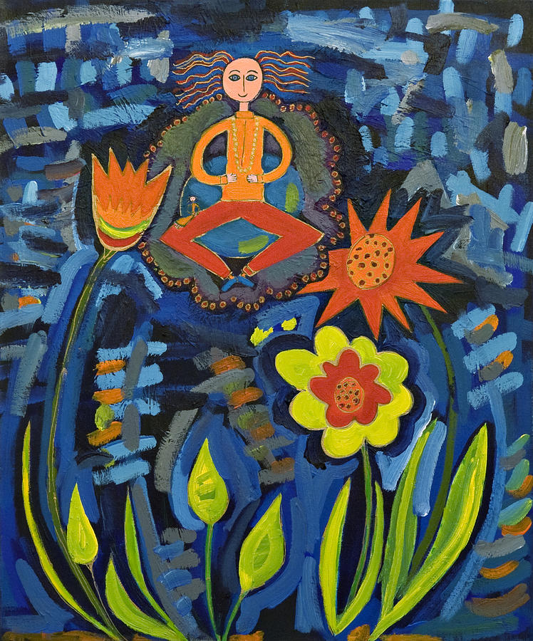 Meditating Master In Moonlit Garden Painting by Maggis Art