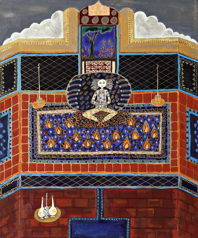 Meditating Master In Tiled Courtyard Painting by Maggis Art