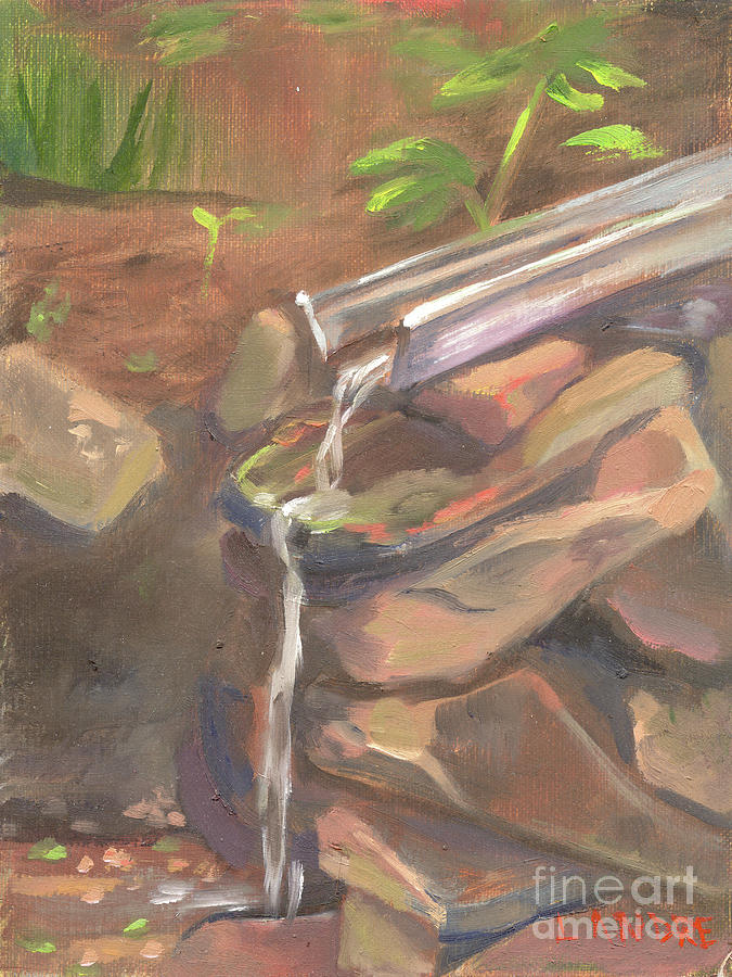 Water Painting - Meditation Falls by Lilibeth Andre