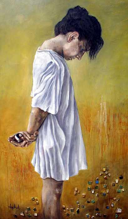 Meditation Painting - Meditation by Ixchel Amor
