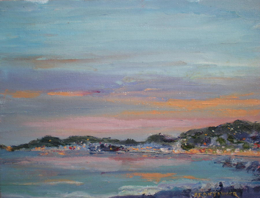 Mediterranean At Dusk Nice France Painting by Bryan Alexander