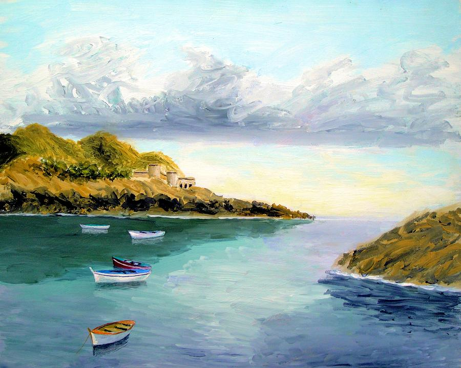 Mediterranean Bay Painting by Larry Cirigliano