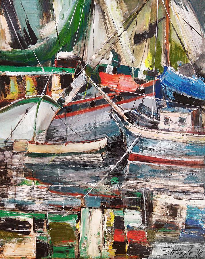 Boats Painting - Mediterranean Impression by Stefano Popovski