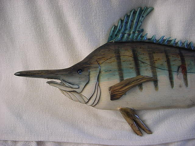 Fish Mixed Media - Mediterranean Spearfish Close Up by Lisa Ruggiero