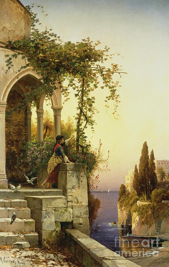 Gardens Painting - Mediterranean Sunset by Salomon Corrodi