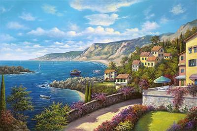 Mediterranean Village Painting by Suleyman Mavruk