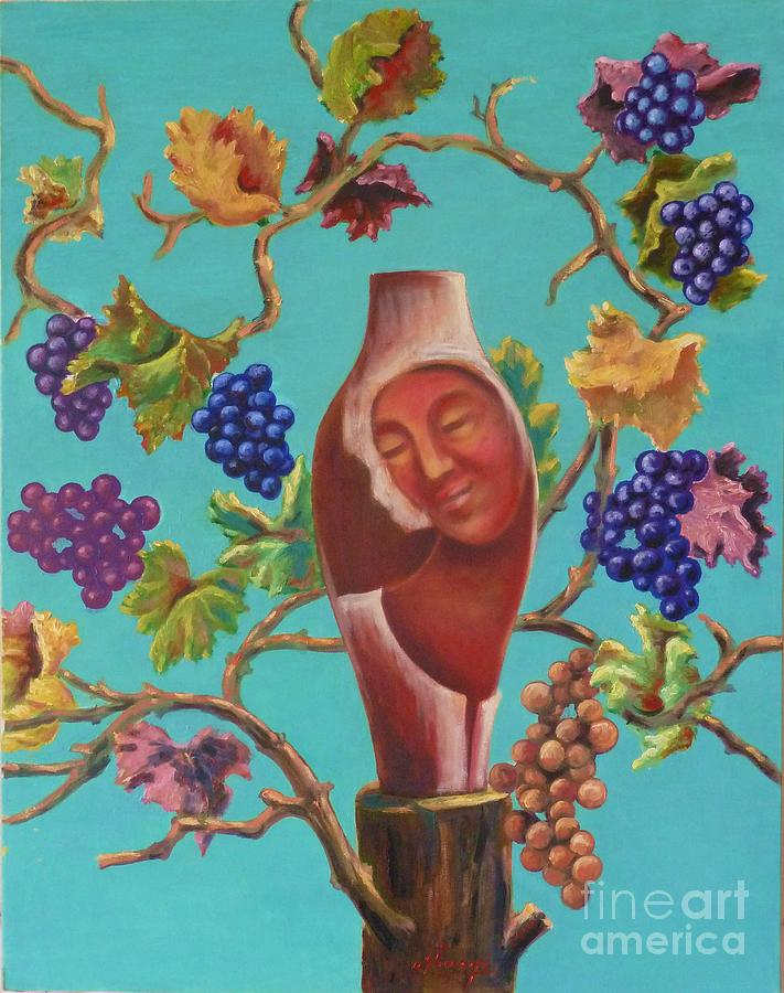Grapes Painting - Meditrina by Ushangi Kumelashvili