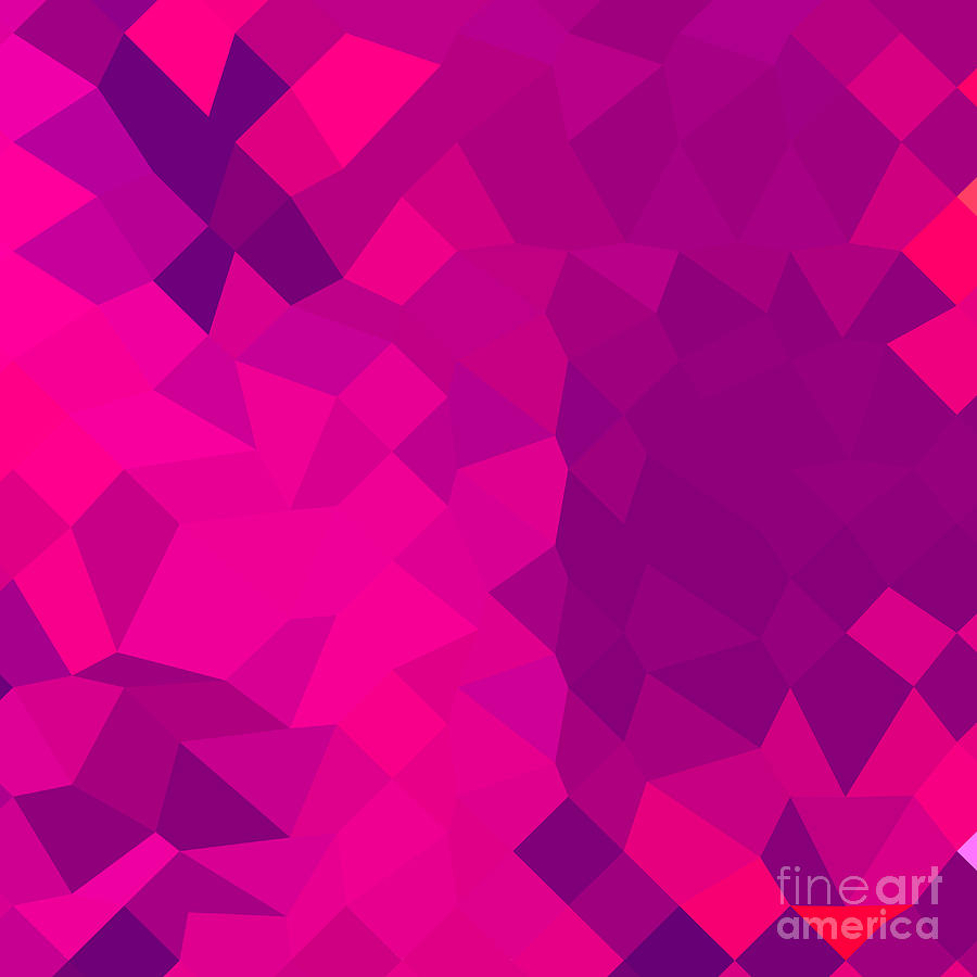Abstract Digital Art - Medium Violet Red Abstract Low Polygon Background by Aloysius Patrimonio