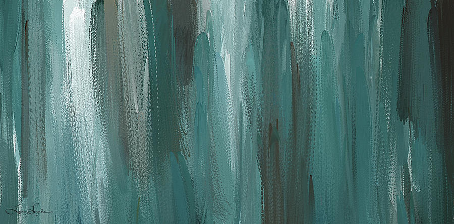 d132996f1fb Meet Halfway - Teal And Gray Abstract Art Painting by Lourry Legarde