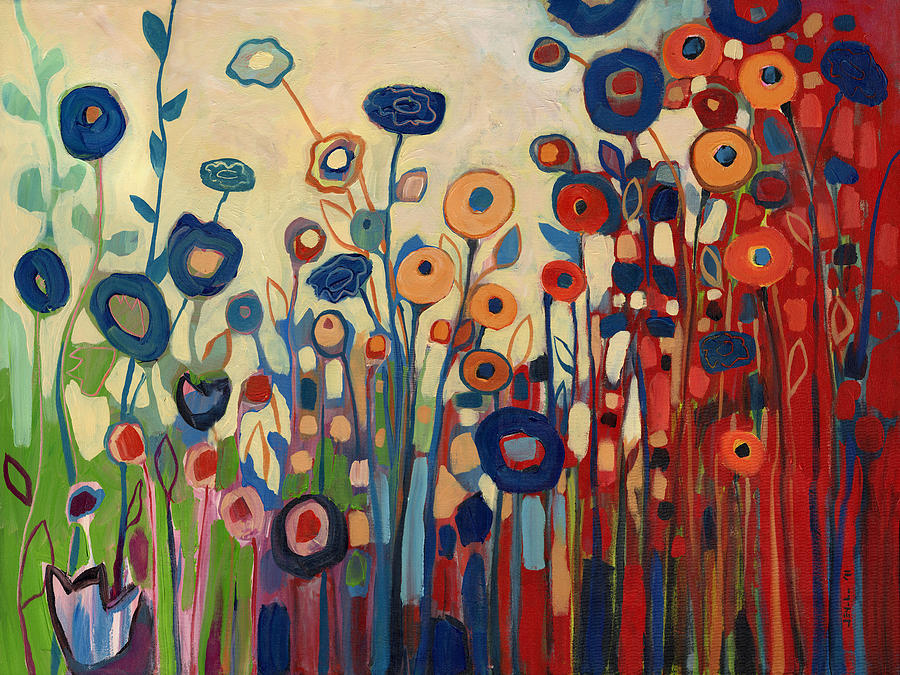 Abstract Painting - Meet Me In My Garden Dreams by Jennifer Lommers