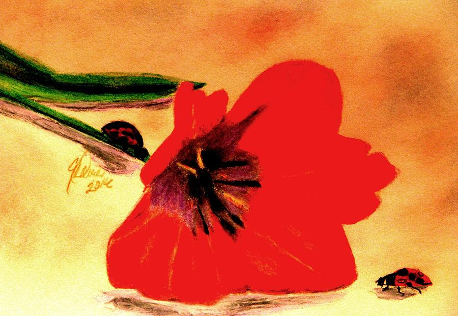 Red Tulips Drawing - Meet Me In The Tulips by Angela Davies