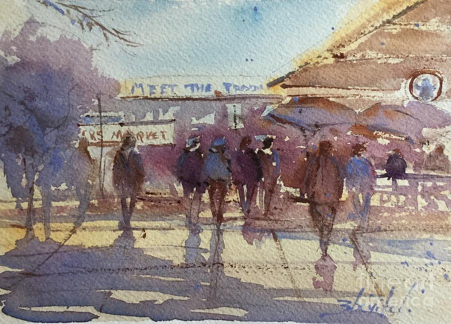 Pike Place Market Seattle Painting - Meet The Producers Sketch by Carolyn Zbavitel