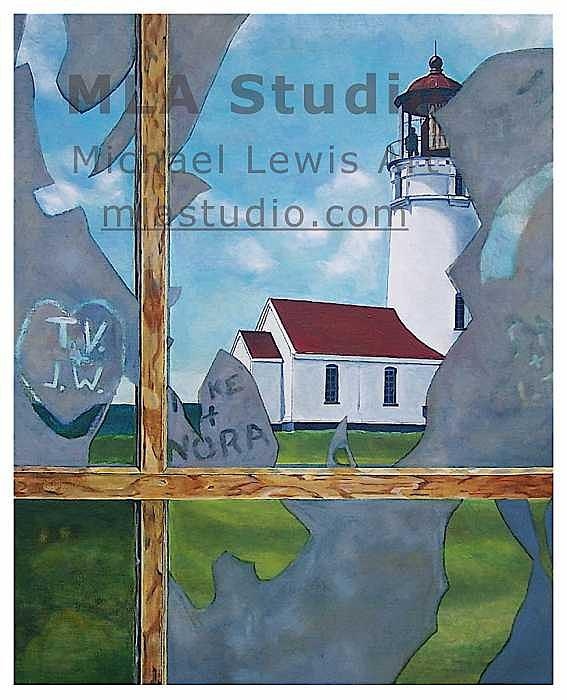 Lighthouse Painting - Meeting Place by Michael Lewis