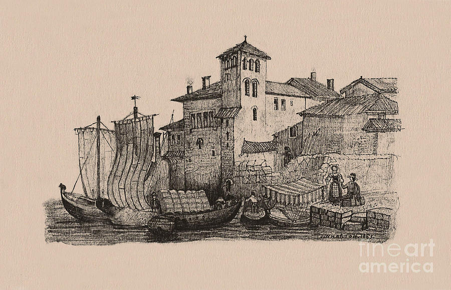 Ships Drawing - Meetings At The Dock by Donna Munro