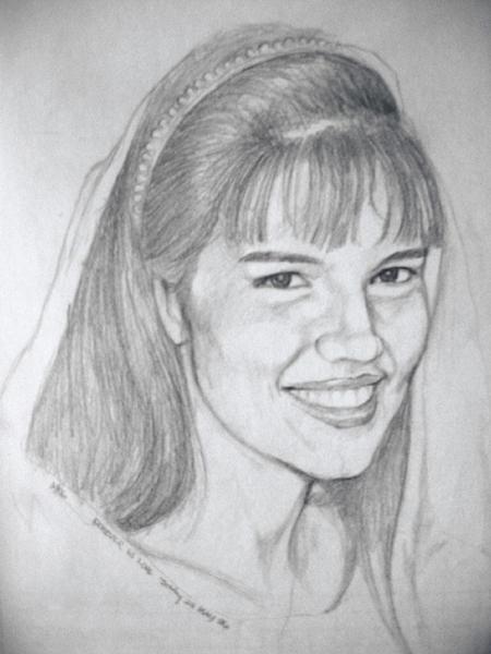 Portraits Drawing - Meg Smiling by Bobby Barredo