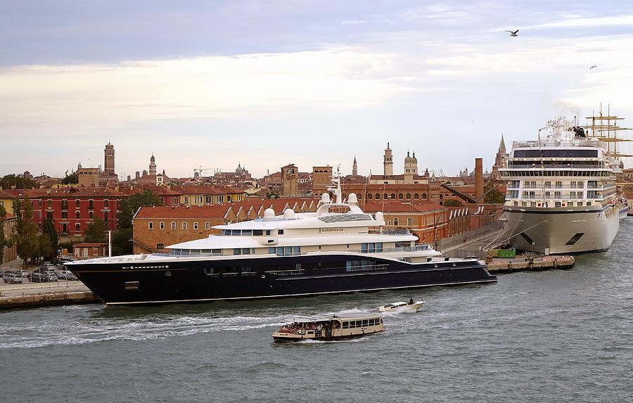 Mega Yacht Photograph - Mega Luxury Yacht The Carinthia Vll In Venice, Italy by Richard Rosenshein