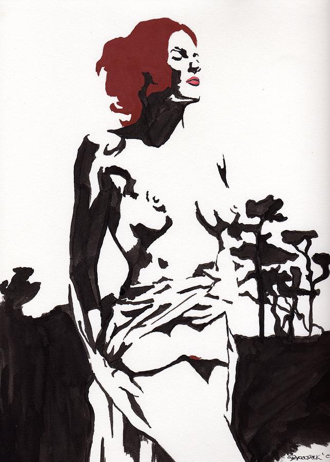 Megan - Sunlight Drawing by Stephen Panoushek