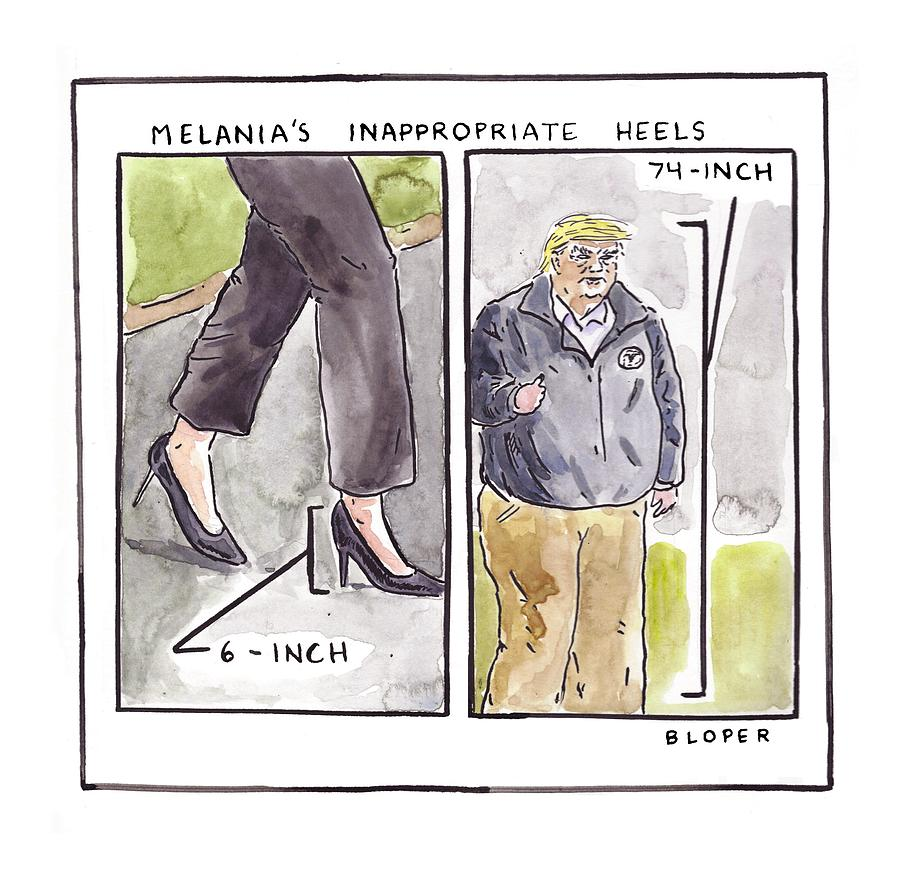 Melanias Inappropriate Heels Drawing by Brendan Loper