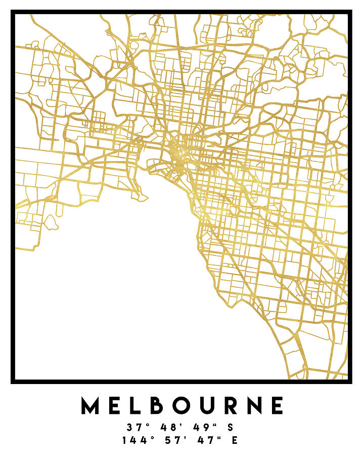 Australia Map Melbourne.Melbourne Australia City Street Map Art By Emiliano Deificus